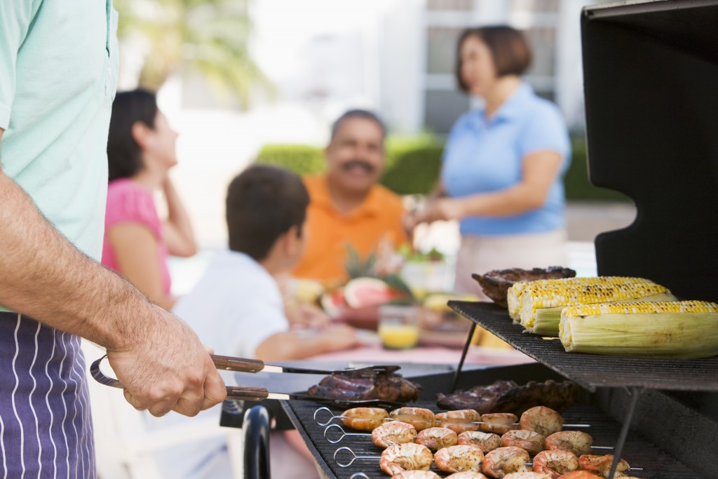 Family in a barbecue