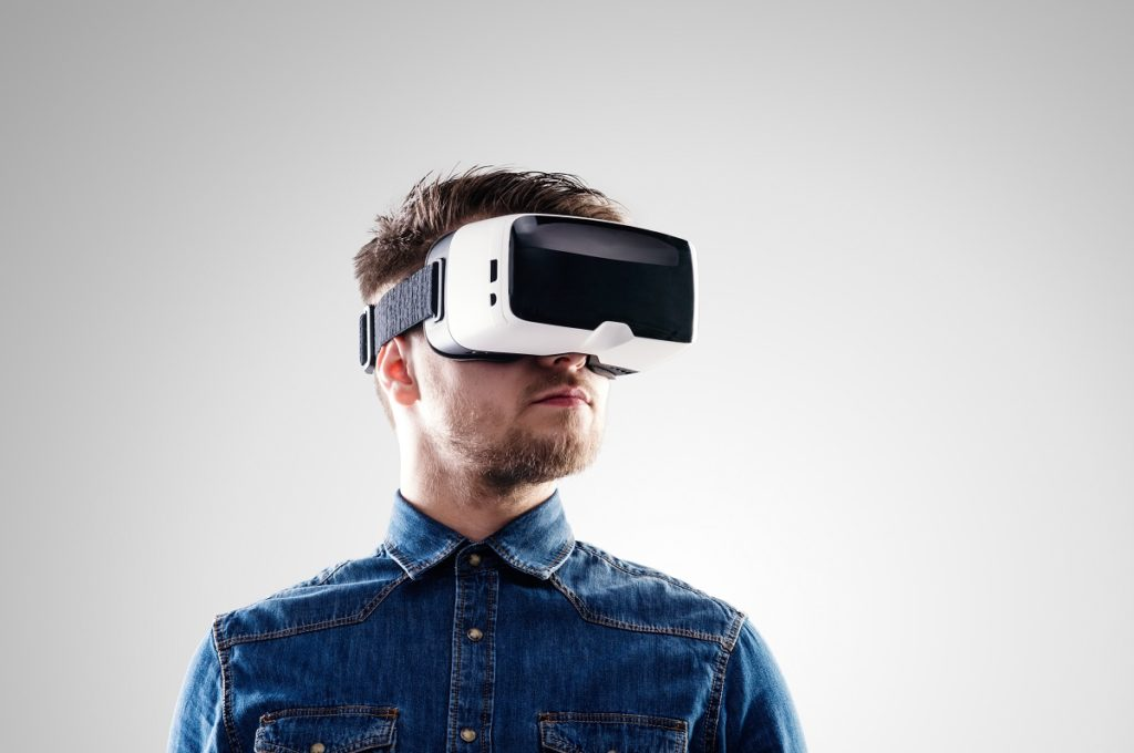 man wearing virtual reality googles
