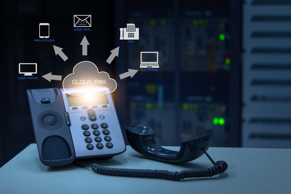IP Telephony cloud pbx concept