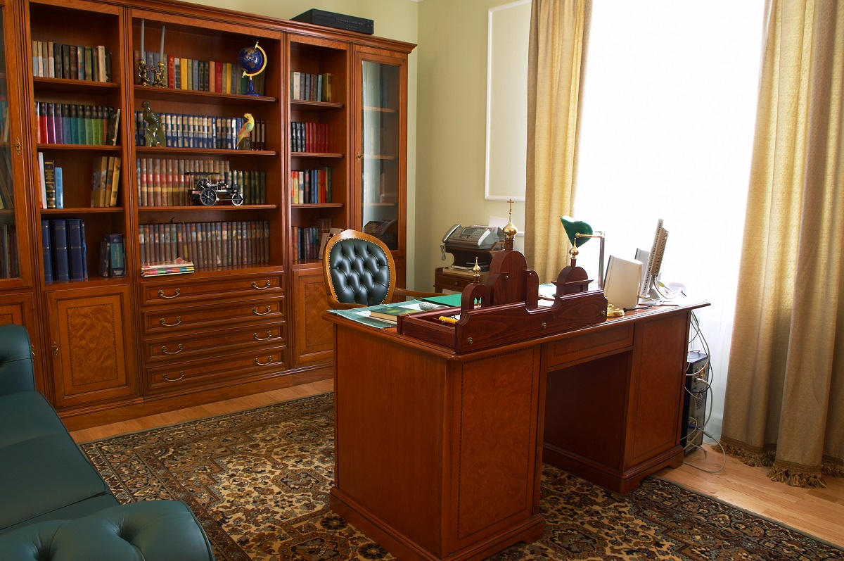 home office with bookcase