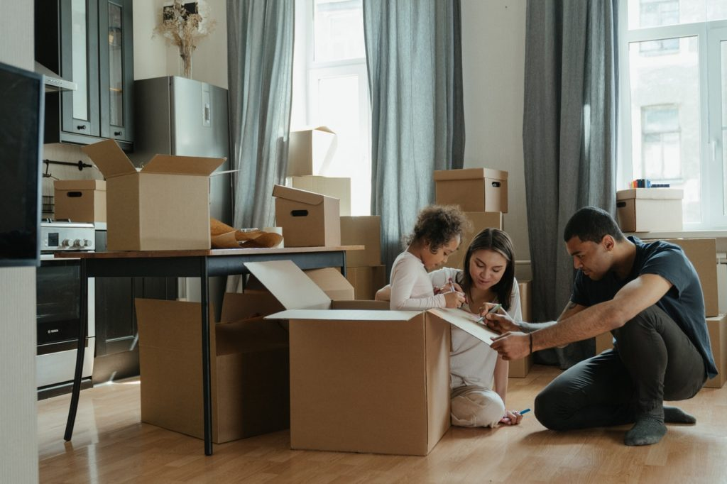 family moving in a new house
